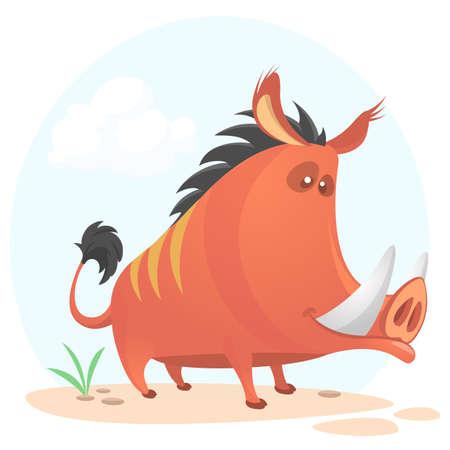 멧돼지 또는 야생 돼지 만화입니다. 벡터 일러스트 레이 션 흰색 배경에 고립.