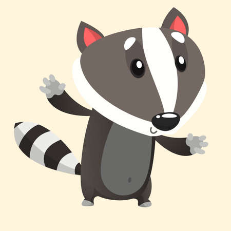 Cute cartoon badger illustrated. Vector animal icon.