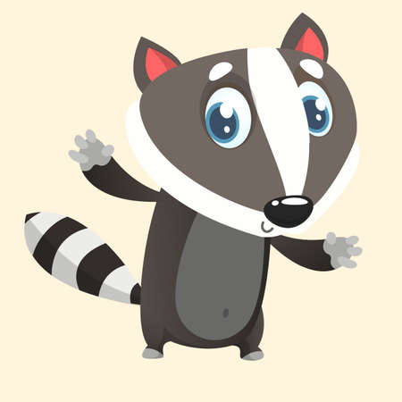 Cute cartoon  raccoon character. Wild forest animal collection. Baby education. Isolated on white background. Flat design Vector illustration.