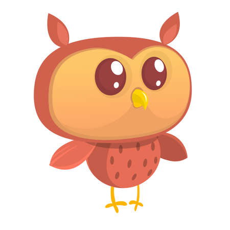 Cute cartoon  owl character. Wild forest animal collection. Baby education. Isolated on white background. Flat design. Vector illustration.