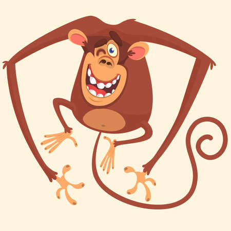 Cute monkey blinking cartoon. Vector drawing icon of cute monkey isolated.
