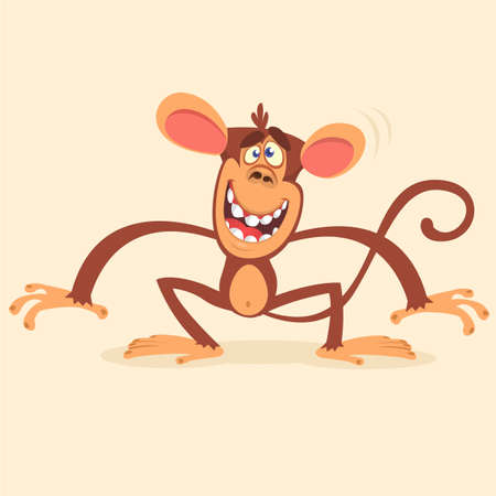 Cute cartoon monkey character. Wild forest animal collection. Baby education. Isolated on white background. Flat design. Vector illustration of chimpanzee. Illustration