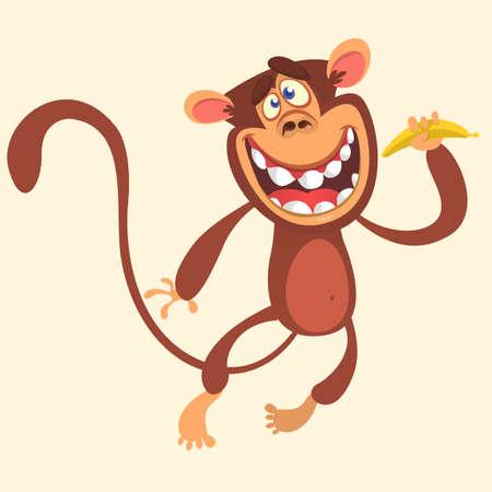 Cartoon monkey holding banana and jumping. Vector illustration of smiling chimpanzee character isolated. Illustration