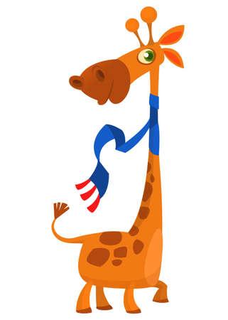 キリンのかわいい漫画のキャラクター。野生の動物のコレクションです。赤ちゃん教育。ベクトル図を分離しました。