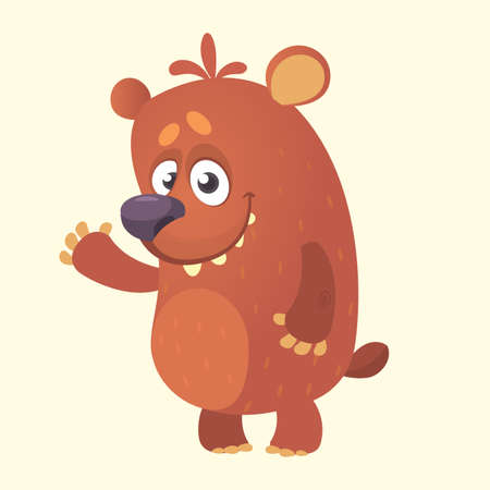 Cute cartoon bear character. Vector illustration of a bear waving hand. Isolated on white background. Vector Illustration