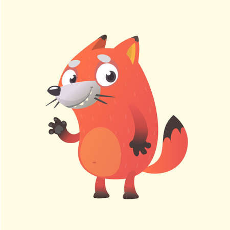 Cute cartoon fox mascot character. Vector illustration of an orange fox waving hand. Isolated on white background. Character for children books, sticker, print or banner.