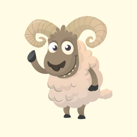 Cute cartoon sheep mascot character. Vector illustration of fluffy sheep waving hand. Isolated on white background. Illustration