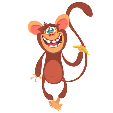 Cute cartoon monkey character icon. Wild animal collection. Chimpanzee mascot waving hand and presenting. Isolated on white background. Flat design. Vector illustration.