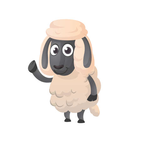 Funny cartoon sheep icon. Vector illustration of a fluffy sheep character mascot waving hand. Great for print, sticker or book illustration. Illustration