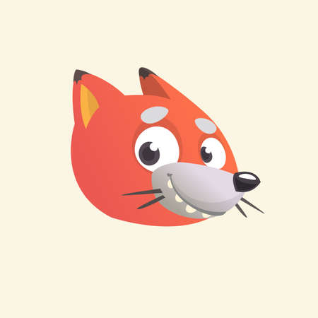 Cartoon fox icon. Vector illustration of a fox head. Great for logo or emblem. Isolated on white background.