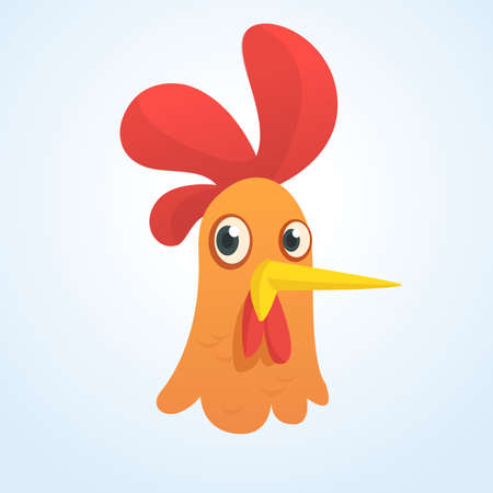 chick: Cartoon cute rooster icon. Vector illustration of a cool rooster head. Great for print, sticker, banner or emblem. Design element. Isolated on white background.