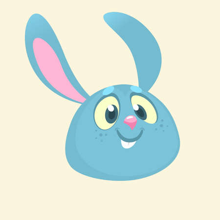 Cartoon bunny rabbit head icon. Flat Bright Color Simplified Vector Illustration In Fun Cartoon Style Design. Illusztráció