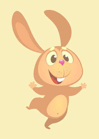 Cartoon cute bunny rabbit dancing excited. Flat Bright Color Simplified Vector Illustration In Fun Cartoon Style Design.
