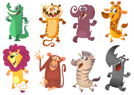 Cartoon tropical African animal set. Wild cartoon cute animals collections vector. Big set of cartoon jungle animals flat vector illustration.