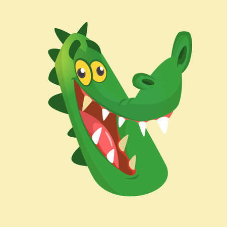 Cartoon crocodile smiling head icon. Flat Bright Color Simplified Vector Illustration In Fun Cartoon Style Design. Illustration