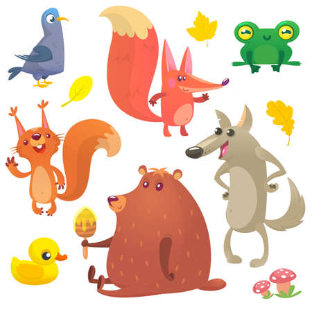 Cartoon forest animals set. Vector set of animal icons isolated on white background. Vector illustration of pigeon, fox, frog, squirrel, duck, bear and wolf. Vettoriali