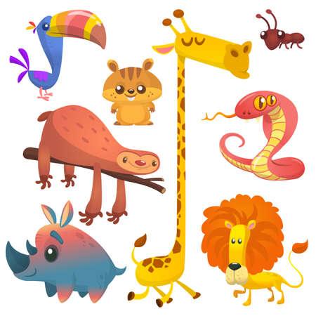 Cartoon African jungle animals. Vector illustrations of toucan, sloth, giraffe, chipmunk, ant, rhino and lion.