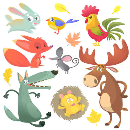 Cartoon forest animal characters. Wild cartoon cute animals collections vector. Big set of cartoon forest animals flat vector illustration.