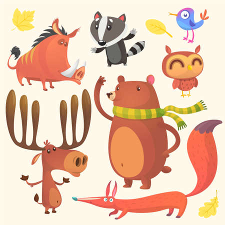 Collection of cartoon forest animals images. Vector set of animal icons isolated on white background. Vector illustration of boar, badger, blue bird, elk moose, bear, owl and fox.