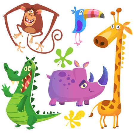 Cartoon African savanna animal set. Big collection of cartoon jungle animals. Vector illustration. Crocodile alligator, giraffe, monkey chimpanzee, toucan and rhino.