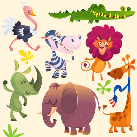 Ensemble d'animaux dessin animé savane africaine. Collections d'icônes d'animaux sauvages. Ensemble d'illustration de vecteur plat animaux cartoon jungle.