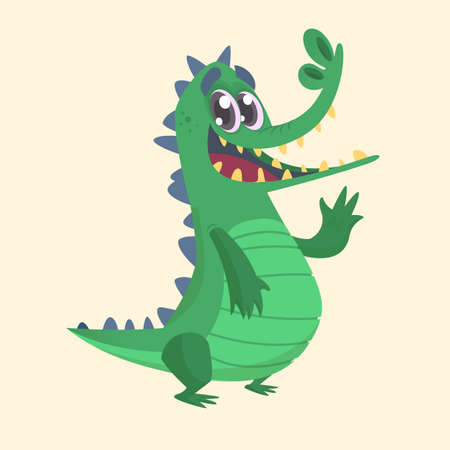 Cute cartoon crocodile or dinosaur. Vector  illustration of a green crocodile waving and presenting. Isolated on white background.