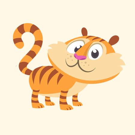 Cartoon tiger icon. Flat Bright Color Simplified Vector Illustration In Fun Cartoon Style Design.