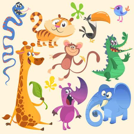 Cartoon African or jungle animal set. Wild cartoon cute animals collections . Vector illustration.