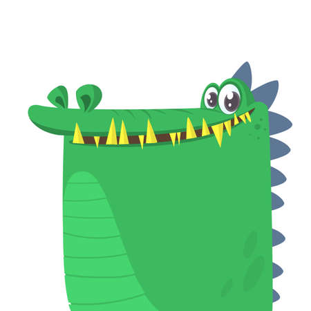 Cartoon silly crocodile smiling. Vector illustration isolated.