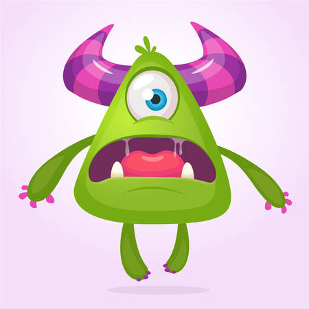 Cartoon vector monster. Monster alien illustration with surprised expression. Shocking green alien design for Halloween