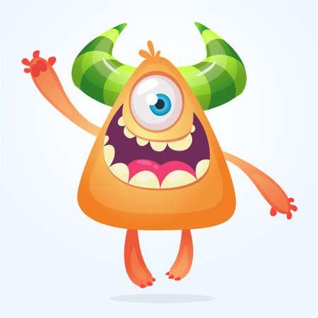 Cartoon monster. Orange monster smiling. Halloween vector illustration. Vettoriali
