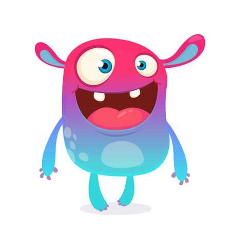 Cool cartoon alien. Purple and pink bizzarre colorful alien monster for Halloween. Vector illustration Illustration