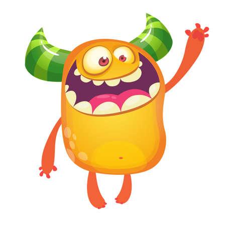 Cartoon monster. Orange monster presenting. Halloween vector illustration. Design for emblem, print or sticker decoration