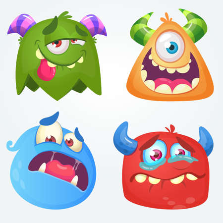 Cute cartoon monsters. Vector set of 4 Halloween monster icons