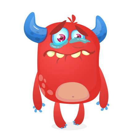 Caricature de monstre mignon qui pleure. Mascotte de personnage de monstre rose. Illustration vectorielle pour Halloween Banque d'images - 85468576
