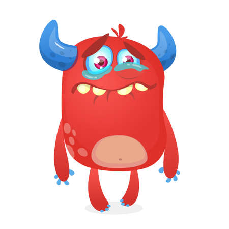 Crying cute monster cartoon. Pink  monster character mascot. Vector illustration for Halloween Ilustrace