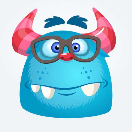 Cartoon monster wearing glasses. Vector illustration of troll or gremlin Illustration