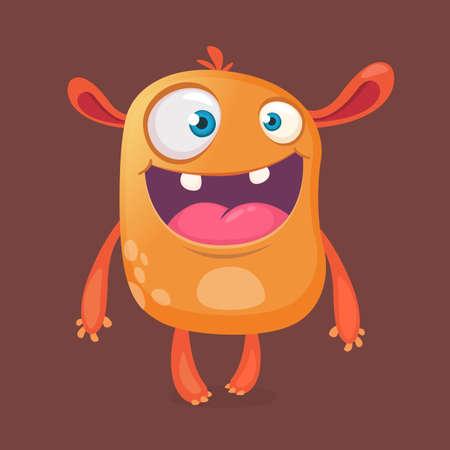 Crazy cartoon monster. Vector orange monster. Halloween design
