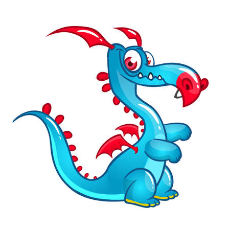 Happy cartoon dragon. Vector illustration 일러스트