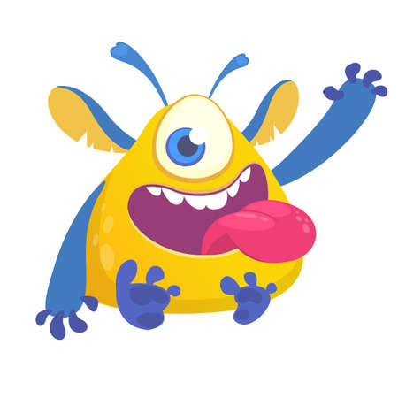 Happy cartoon monster mascot. Halloween vector blue yellow alien with one eye waving. Design for emblem or sticker