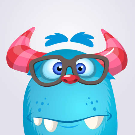 Cartoon yeti monster wearing glasses. Vector illustration of troll or gremlin