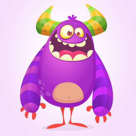 Cute cartoon fat monster. Purple and horned vector alien character. Design for icon, emblem, sticker or children book illustration. Halloween design