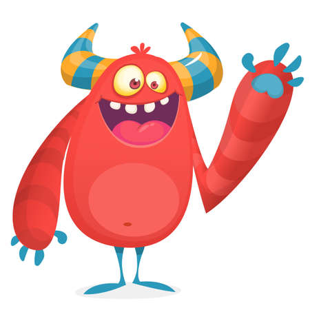 Happy cool cartoon fat monster. Red and horned vector monster character