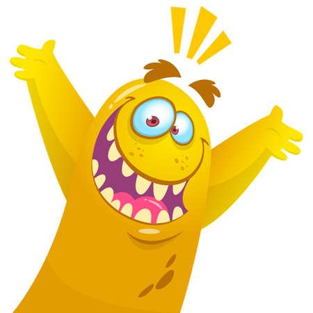 Cartoon yellow monster. Halloween vector illustration of excited monster