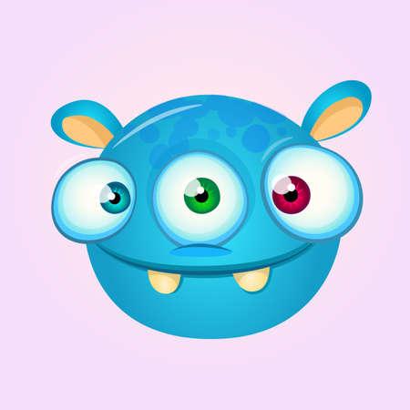 Happy cartoon alien head. Vector illustration of monster head Ilustração