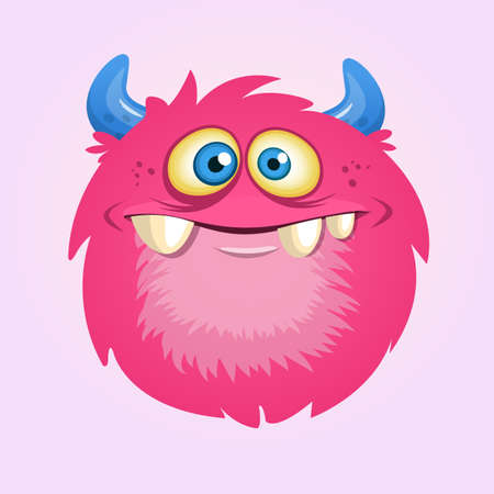 Happy cartoon hairy monster. Vector Halloween pink furry monster