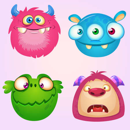 Cute cartoon monsters collection. Vector set of 4 Halloween monster icons