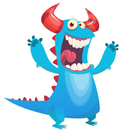 Cute blue monster cartoon scares with hands rised. Halloween vector illustration isolated