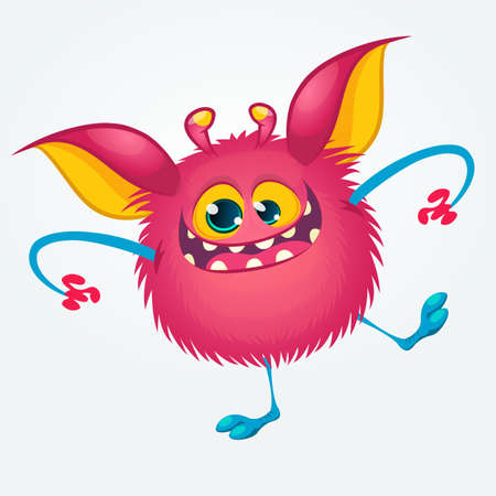 Cartoon pleased funny monster dancing. Halloween vector illustration of funny troll or gremlin