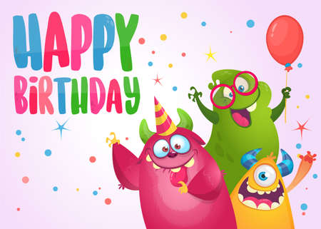 Vector birthday card with cute funny monsters in cartoon style. Design for poster or print decoration Illustration